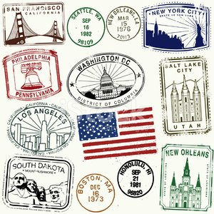 Rubber Stamp,New York City,Washington DC,New Orleans,Philadelphia,Boston,Capitol Building,Mt Rushmore National Monument,City Of Los Angeles,Liberty Bell,Retro Revival,Los Angeles County,San Francisco County,Louisiana,Old-fashioned,Pennsylvania,California,Golden Gate Bridge,Statue of Liberty,Hawaii Islands,Salt Lake City,Utah,Vector,Famous Place,Flag,Massachusetts,1940-1980 Retro-Styled Imagery,Ilustration,Salt Lake,South Dakota,Honolulu,Architecture,Travel Locations,Architecture And Buildings,Illustrations And Vector Art