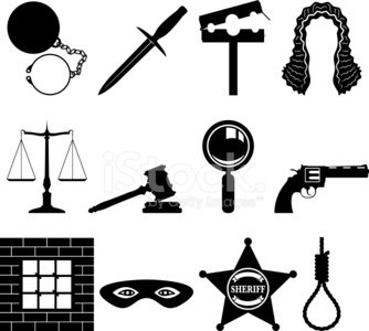 Gavel,Justice - Concept,Wig,Legal System,Weight Scale,Crime,Prison,Icon Set,Ball and Chain,Dagger,Sheriff,Black Color,Magnifying Glass,Mask,Handgun,Ilustration,Badge,Industry,Vector Icons,Law Enforcement And Crime,Illustrations And Vector Art,Rope