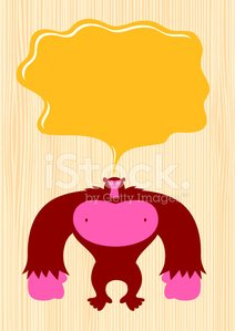 Gorilla,Monster,Custard,Food,Happiness,Cute,Fun,Cheerful,Cartoon,Large,Concepts And Ideas,Animal,Animals And Pets,Pink Color,Wild Animals,Illustrations And Vector Art,Character Traits,Ilustration,Vector Cartoons,Standing,Staring,Watching,Humor