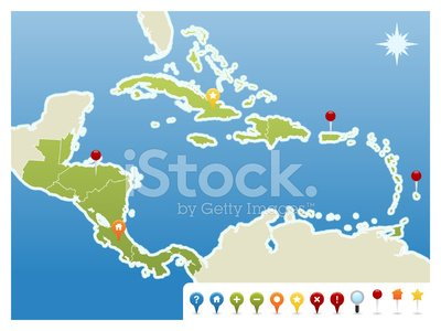Central America and Caribbean Gps Icon Map stock vectors - 365PSD.com