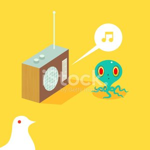 Radio,Octopus,Bird,Humor,Cartoon,Speaker,Vector,Fun,Technology,Ilustration,Staring,Characters,Arts And Entertainment,Music,Musical Note,Character Traits,Illustrations And Vector Art,Vector Cartoons,Concepts And Ideas,Stereo,Dove - Bird,Wood - Material
