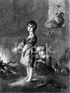 Child,Poverty,Image Created 19th Century,19th Century Style,Ilustration,Domestic Cat,Cottage,Engraved Image,Antique,Little Girls,Fire - Natural Phenomenon,Line Art,Old-fashioned,Old,Eating,History,Dark,Pets,Two People,Monochrome,British Culture,Social Issues,UK,Winter,Indoors,Childhood,Sitting,Ephemera,Cultures,Black And White,Lifestyles,Emotion,Drawing - Art Product,English Culture,The Past,Image Created 1870-1879,Looking,Social History,Warming Up,Adversity,Standing
