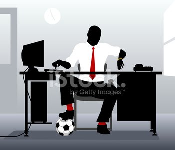 Desk,Soccer,Sport,Professional Sport,Waiting,Businessman,Distracted,Soccer Player,Working,Men,Soccer Ball,Impatient,Time,Illustrations And Vector Art,Sports And Fitness,Business People,Home-time,Business,Dusk,White Collar Worker,Vector,5 O'Clock,Ilustration,Computer Graphic