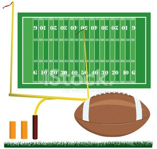Football,Goal Post,End Zone,American Football - Sport,Playing Field,Sport,Grass,Vector,Competitive Sport,Team Sport,Ilustration,Ball,Group of Objects,Collection,Set,Multiple Image,Sports Equipment