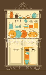 Domestic Kitchen,Retro Revival,Cabinet,1940-1980 Retro-Styled Imagery,Old-fashioned,Cooking,Old,Shelf,Pattern,Food,Kitchen Utensil,Cooking Pan,Wood - Material,Sketch,Tea - Hot Drink,Coffee - Drink,Furniture,Home Interior,Open,Box - Container,Domestic Life,Indoors,Family,Plate,Buffet,Drawer,Crockery,Design,Saucepan,Teapot,Set,Ilustration,Vector,Single Object,Spoon,Group of Objects,Cartoon,Decoration,Jug,Brown,Decor,Painted Image,Illustrations And Vector Art,Kitchen Equipment,Vector Cartoons,Household Objects/Equipment,Saucer,Cup,Orange Color,Food And Drink,Objects/Equipment