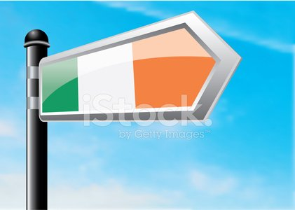 Republic of Ireland,Directional Sign,Road Sign,Sign,Journey,Direction,Travel,Copy Space,Ilustration,Single Object,Illustrations And Vector Art,Pole,Sky,Clear Sky,Vector,Blue,Cloud - Sky,gradient mesh,Vector Cartoons,Horizontal,Crossroads Sign,Vapor Trail,Irish Flag,Arrow Symbol