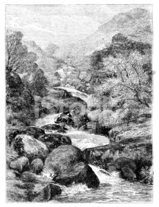 Tree,Stream,Engraved Image,Mountain,River,Rock - Object,Line Art,Waterfall,19th Century Style,Moor,Rural Scene,Black And White,Rapid,Nature,Old,Bodies Of Water,Landscapes,Antique,Geological Feature,Victorian Style,History,Idyllic,Old-fashioned