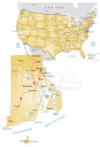 Map,Rhode Island,USA,Vector,Road,Illustrations And Vector Art,Travel Locations,City,Transportation,No People,Interstate,Ilustration,Road Map,Multiple Lane Highway