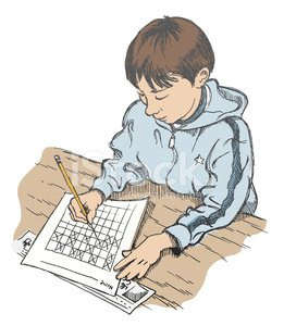 Homework,Classroom,Test Results,Little Boys,Desk,School Building,Pen And Ink,Hood,Sketch,People,8-9 Years,Illustrations And Vector Art,Elementary Age,Education,Arts And Entertainment,Writing,Second Grade,Jacket,Studying,Learning,Working