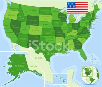 USA Map Green States, Cities, Flag stock vectors and ...