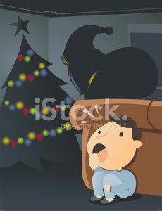 Kid Spying Santa While Leaving Presents Under The Tree Vector Images Happy cartoon christmas tree with colorful gifts. kid spying santa while leaving presents