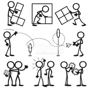 stick figure people business working together 画像をストックする