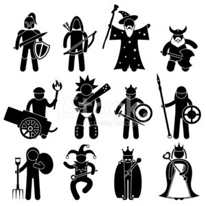 Computer Icon,Symbol,Knight,Warrior,People,Elf,Vector,Army,Archery,Wizard,Cartoon,Medieval,Slingshot,War,Farmer,The Past,Barbarian,Midget,Sign,Armed Forces,Weapon,King,Clown,Characters,paladin,Fantasy,Lords,Peerage Title,Queen,Imagination,High Society,Battle,Magician,Black Color,Mythology,Farm Worker,Manual Worker,Concepts