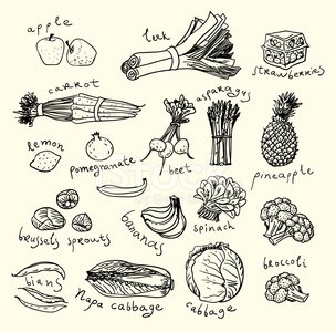 Food,Symbol,Computer Icon,Drawing - Art Product,Domestic Kitchen,Sketch,Spinach,Pencil Drawing,Ilustration,Pattern,Silhouette,Fruit,Eating,Supermarket,Carrot,In A Row,Breakfast,Asparagus,Brussels Sprout,Leek,Bunch,Apple - Fruit,Box - Container,Broccoli,Pomegranate,Beet,Ingredient,Pineapple,Healthy Lifestyle,Organic,Healthy Eating,Cabbage,Lemon,Collection,Environmental Conservation,Bok Choy,Banana,Art,Vector,Green Color,Illustrations And Vector Art,Food And Drink,Strawberry,Bean,Set,Fruits And Vegetables,Black Color,Remote