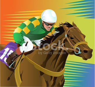 Thoroughbred Racehorse And Jockey