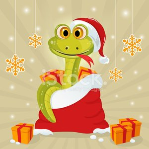 New Year's Eve,Animal,2013,New Year,Snake,Christmas,One Animal,Holiday,Celebration,Ilustration,Bag,Carnivore,Smiling,Sign,Snow,Vector,Cheerful,Snowflake,Gift,Symbol,December,Season,Winter,Joy,Happiness,Reptile,Fun