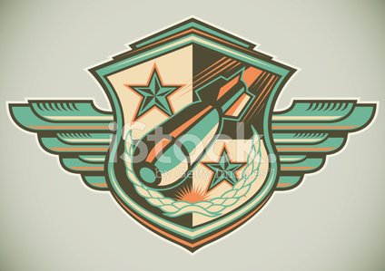 Bombing,Bomb,Coat Of Arms,Insignia,Retro Revival,Armed Forces,Military,Army,Old-fashioned,Badge,Label,Artificial Wing,Explosive,Shield,Ilustration,Vector,War,Danger,Weapon,Multi Colored,Color Image,Power,Single Object,Isolated,Aggression