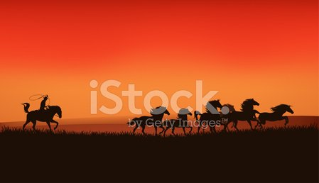Cowboy,Wild West,Horse,Prairie,Running,Silhouette,Lasso,Horseback Riding,Sunset,Animals In The Wild,Throwing,Orange Color,Animal,Mustang,Black Color,Landscape,Vector,Herd,Ilustration,Stallion,Riding