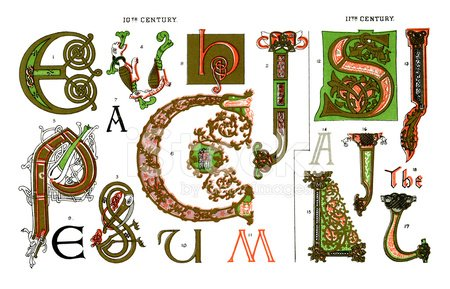 Meval Illuminated Letters stock vectors and illustrations on