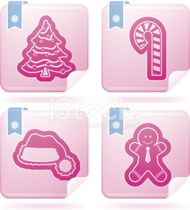 Pink Color,White,Blue,Sign,Christmas,Symbol,Christmas Tree,Candy Cane,Holiday,Vector,Gingerbread Man,Celebration,Santa Hat,White Background