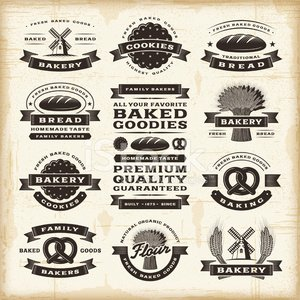 Sign,Bakery,Banner,Old-fashioned,Food,Label,Woodcut,Bread,Wheat,Cookie,Freshness,Badge,Baking,Organic,Pretzel,Symbol,Windmill,Star Shape,Text,Drawing - Art Product,Shape,Vector,Engraved Image,Rubber Stamp,Flour,Frame,1940-1980 Retro-Styled Imagery,Textured,Ribbon,Grunge,Backgrounds,Rye,Cereal Plant,Old,Ilustration,Wreath,Design Element,Black Color,Cultures,Parchment,Set,Paper,Eps10,Art,Design,Merchandise,Scratched