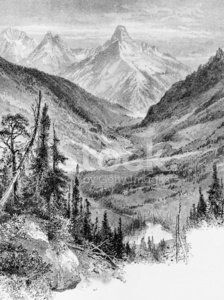 Etching,Mountain,Ilustration,Colorado,Valley,Black And White,Mt Wilson,Vertical,Mt Wilson,No People,Image Created 19th Century