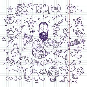 Doodle,Tattoo,Love,Heart Shape,Vector,Men,Human Skull,Beard,Retro Revival,Anchor,Male,Set,Rose - Flower,Diamond,Bird,Flower,Star Shape,Old-fashioned,Symbol,Tattooing,The Human Body,Human Bone,Ilustration,Decoration,Pistol,Cartoon,Dice,Workbook,Dagger,American Culture,Horseshoe,Design Element,Sign,Cultures,Human Skin,Asia,Collection,Ink