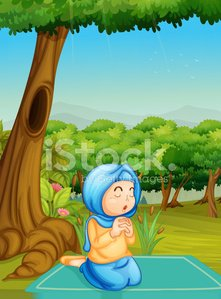 Child,Cultures,Practicing,Praying,Alertness,Sitting,Islam,Plant,Garment,Middle Eastern Ethnicity,Women,Kneeling,Nature,Tree,Forest,cloaked,Saudi Arabia,People,Multi Colored,Outdoors,Religion