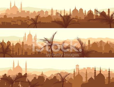 Arabia,Urban Skyline,Middle Eastern Ethnicity,Mosque,Landscaped,Silhouette,Islam,Building Exterior,Horizon Over Land,Arabic Style,Architecture,House,Morning,Banner,Residential Structure,City Life,Vector,Panoramic,Cityscape,Ilustration,Horizon,Sunset,Tree,Orange Color,East,Minaret,Art,Downtown District,Abstract,City,Backgrounds,Urban Scene,Set,Sunrise - Dawn,Palm Tree,Horizontal,Town