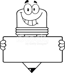 Black And White Pencil Cartoon Character Holding A Banner Vector Images