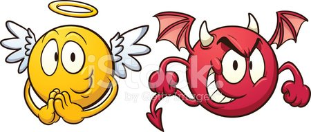 Devil,Angel,Red,Cute,Contrasts,Evil,Ilustration,Characters,Cartoon,Vector,Emoticon,Yellow,Color Gradient,Isolated,Positive Emotion,Smiling,Wing