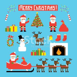 Pixelated,Christmas,Painted Image,Santa Claus,Sleigh,Symbol,Winter,Snowman,Christmas Decoration,Reindeer,Funky,Modern,Vector,Year,Cultures,Tree,Bag,Set,Holiday,Humor,Fireplace,Cheerful,Deer,Package,Bell,Red,Part Of,Star Shape,Fire - Natural Phenomenon,pixel art,Confetti,Cartoon,Sock,Gift,Mistletoe,Sack,Ribbon,Hat,Surprise,Celebration,Ilustration,People,Pyrotechnics