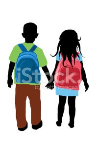 Child,Rear View,Walking,Silhouette,Back,Education,School Building,Black Color,Student,Little Boys,Ilustration,Backpack,Little Girls,Holding,Human Hand,Vector,Daughter,Blue,Son,Isolated,Small,Red,Friendship,White,Togetherness