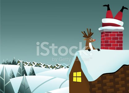 Santa Claus,Christmas,Chimney,Humor,Stuck,Trapped,House,Snow,Human Foot,Vector,Village,Fun,Town,Window,Ilustration,Human Leg,Roof,Hill,Reindeer,Sky,Upside Down,Brick,Horizontal,Looking,Evergreen Tree,Fir Tree,Red,Surprise,Empty,Cartoon,Rudolph The Red-nosed Reindeer,Blank,Copy Space,Boot,Outdoors,Animal,Tree