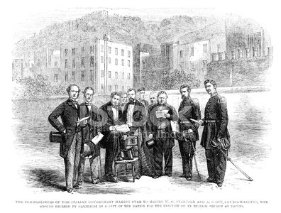 Image Created 19th Century,19th Century Style,Old-fashioned,People,Men,Traditional Ceremony,Male,Governmental Occupation,Old,Antique,Southern Europe,Groundbreaking Ceremony,1860-1869,Celebration Event,Engraved Image,Campania,Naples - Italy,Image Created 1860-1869,Italy,Bay Of Naples - Italy,Europe,Event,Commissioner,The Past,History,Organized Group,Politician,Victorian Style,Styles,Ilustration