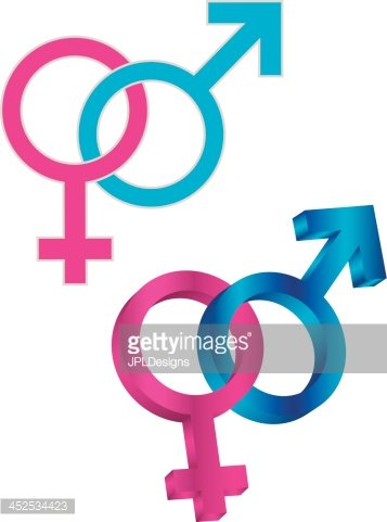 Male And Female Gender Symbol Intertwined Vector Illustration Stock