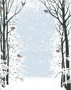 Winter,Frame,Christmas,Non-Urban Scene,Backgrounds,Forest,Bird,Snow,Vector,Woodland,Tranquil Scene,Tree,Snowflake,Animal,Brunch,Season,Paintings,White,Nature,Ilustration,Outdoors,Landscape,Tree Trunk,Park - Man Made Space,Single Lane Road,Idyllic,Computer Graphic,Composition,Blue,Scenics,Bullfinch,Flock Of Birds,Fir Tree,Art,Paint,Design,No People