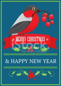 Holiday,Design Element,Green Color,Red,Star Shape,New,Humor,Holly,Year,Design,Bird,Berry Fruit,Branch,Bullfinch,Christmas,Ribbon,Guelder Rose,New Year,Winter,Vector,Frame,Postcard,Greeting Card,Ilustration,Greeting