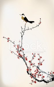 Chinese Culture,China - East Asia,Japan,Ink,Vector,Japanese Culture,Flower,Ilustration,Art,Painted Image,Cherry,Cultures,Red,Branch,Springtime,Design,Backgrounds,Bird,Summer,Tree,Style,Beauty In Nature,East Asian Culture,Blossom,Paintings
