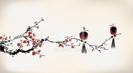 China - East Asia,Chinese Culture,Painted Image,Paintings,Flower,Japan,Japanese Culture,Backgrounds,Art,East Asian Culture,Ilustration,Cherry,Cultures,Blossom,Ink,Summer,Branch,Springtime,Design,Beauty In Nature,Bird,Tree,Red,Vector,Style