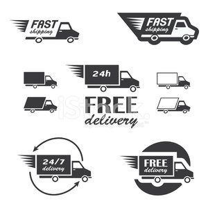 Freight Transportation,Shipping,Sign,Transportation,Computer Icon,Symbol,Truck,Car,Speed,Icon Set,Service,Free Of Charge,Cargo Container,Delivering,Ilustration,Vector,Van - Vehicle,Business,Mini Van,Set,Insignia,Design,Design Element,Land Vehicle,Badge,24 Hrs