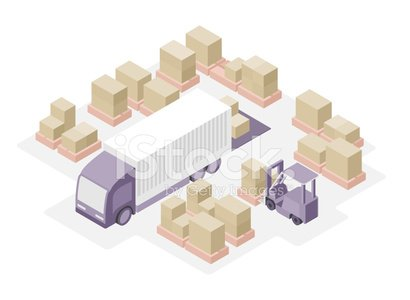 Isometric,Warehouse,Truck,Box - Container,White,Isolated,Freight Transportation,Loading,Forklift,Pallet,Station,Cargo Container,Vector,Ilustration,Transportation,Distribution Warehouse,Delivering,Unloading,Backgrounds,Cardboard,Stack