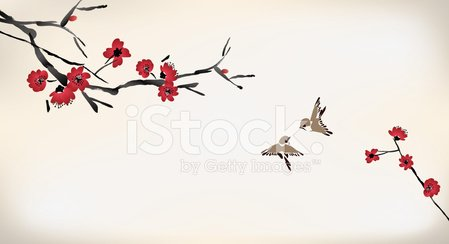 Bird,Japan,Sakura,Japanese Culture,China - East Asia,East Asian Culture,Chinese Culture,Painted Image,Paintings,Watercolor Paints,Watercolor Painting,Backgrounds,Nature,Ink,Style,Flower Bed,Blossom,Vector,Flower,Tree,Springtime,Cultures,Plum,Branch,Cherry,Drawing - Art Product,Design,Ilustration,Pattern,Beauty In Nature,Red