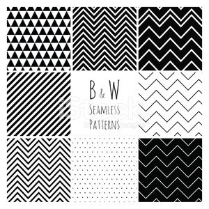 Seamless Black and White geometric background set.