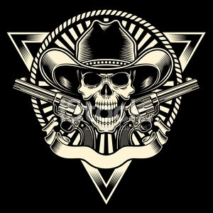 Human Skull,Cowboy,Tattoo,Handgun,Criminal,Wild West,Retro Revival,Pistol,Badge,T-Shirt,Rope,Weapon,Human Skeleton,Symbol,Gangster,Coat Of Arms,Vector,Graphic T-Shirt,Park Ranger,Decoration,Human Bone,Sheriff,Lasso,Ilustration,Insignia,Clip Art,Ribbon