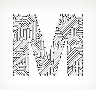 Letter M Circuit Board On White Background Stock Vectors 365psd Com