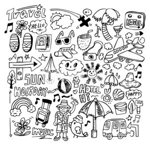 Doodle,Vacations,Pattern,Summer,Beach,Exploration,Air Vehicle,Fun,Camera - Photographic Equipment,Car,Collection,Computer Graphic,Bus,Backgrounds,Bag,People,Men,Textured,Tree,Vector,Sea,Joy,Hotel,Ilustration,Hat