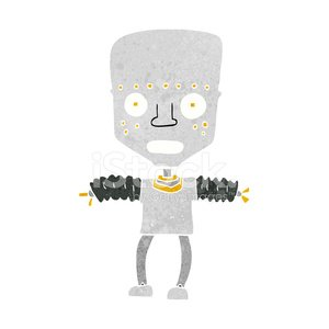 Cheerful,Doodle,Bizarre,Clip Art,Drawing - Activity,Rough,Cyborg,Cute,Ilustration,Robot