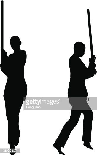 Silhouettes of Men and Women IN Sword Fight Karate Poses stock