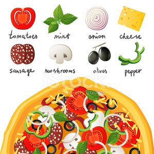 Pizza,Mint Leaf - Culinary,Isolated,Edible Mushroom,Vector,Salami,Pepperoni,Ingredient,Baking,Italian Culture,Tomato,Food,Cheese,Circle,Sausage,Pastry Crust,Leaf Vegetable,Meat,Lunch,Food And Drink,Refreshment,Design Element,Dinner,Ilustration,Mozzarella,Olive,Onion,Speed,Vegetable,Pepper - Vegetable,Slice,Dough,Snack,Eating,Gourmet,Design,Meal